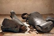 Travel photography:Broken church bells in the Marienkirche (St. Mary`s church) in Lübeck, Germany