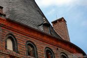 Travel photography:Roof detail of the Holstentor (city gate) in Lübeck , Germany