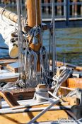 Travel photography:Close-up of the rigging of a sailing boat in Kiel harbour, Germany