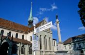 Travel photography:Marker for the Way of St. James (Jakobsweg) in Constance (Konstanz), Germany