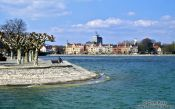 Travel photography:The Seestrasse in Constance (Konstanz) with part of the city park, Germany