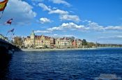Travel photography:The Seestrasse in Constance (Konstanz) viewed from under the Rhine bridge, Germany