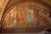 Travel photography:Wall mosaic in the Elisabethkemenate (Elisabeth`s chamber) on the Wartburg Castle, Germany