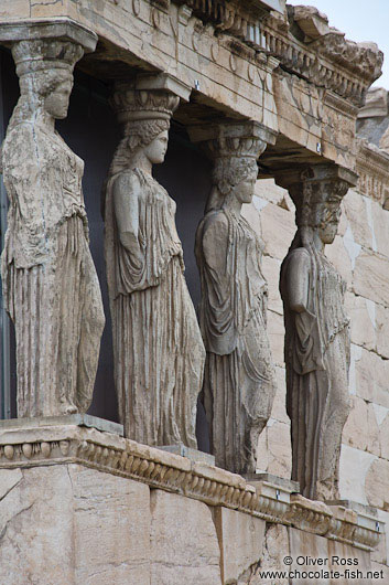 The Porch of the Caryatids on the Erechtheum on the Athens Akropolis