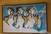 Travel photography:Fresco showing the three Ladies in Blue at Knossos, Grece