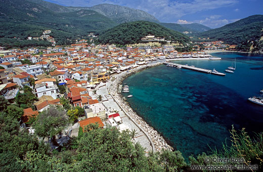 Aerial view of Parga town with bay