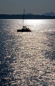 Travel photography:Sailing boat at sunset, Greece