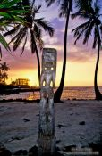 Travel photography:Tiki at Pu`uhonua o Honaunau during sunset, Hawaii USA