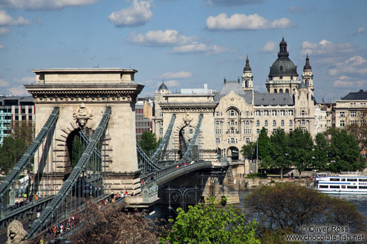 Panoramic view of the Chain Bridge in Budapest