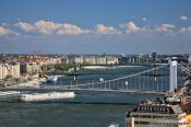 Travel photography:Panoramic view of the Danube river with Elisabeth-, Freedom-, and Petöfi bridges, Hungary