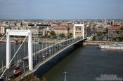 Travel photography:Panoramic view of the Pest side with Elisabeth Bridge, Hungary