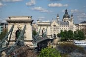 Travel photography:Panoramic view of the Chain Bridge in Budapest, Hungary