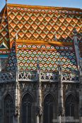 Travel photography:Roof detail of the Matthias Church in Budapest castle, Hungary