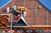 Travel photography:Tiling the roof of the Matthias Church in Budapest castle, Hungary