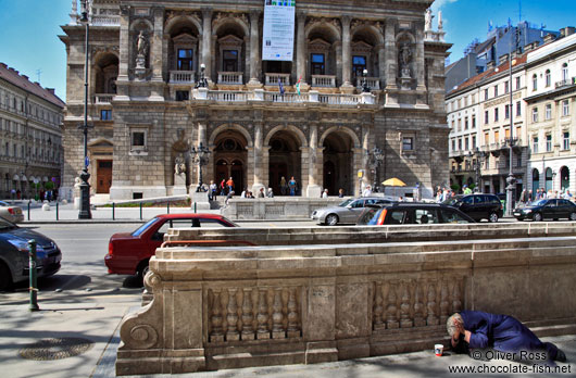 Budapest opera house with beggar