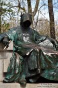 Travel photography:Sculpture of Anonymus in Budapest´s Vajdahunyad castle, Hungary