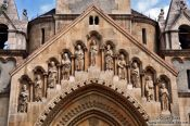 Travel photography:Detail above the entrance portal to the Ják chapel in Budapest´s Vajdahunyad castle, Hungary