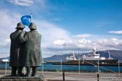 Travel photography:Sailor statues at Reykjavik harbour, Iceland