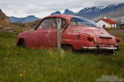 Travel photography:Abandoned old Volvo near Berufjörður, Iceland