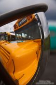 Travel photography:Convex mirror at a tourist bus in Skaftafell, Iceland