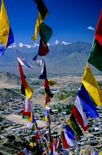 Buddhist prayer flags over Leh