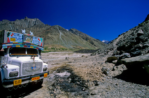 Typical Indian truck on the road between Manali and Leh