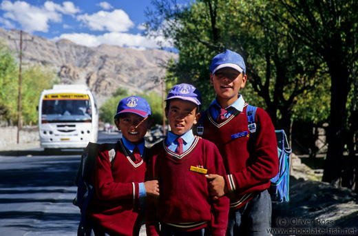 School kids near Thiksey