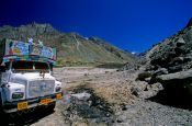 Travel photography:Typical Indian truck on the road between Manali and Leh, India