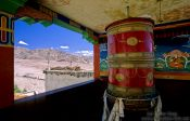 Travel photography:Big prayer wheel at the Thiksey Gompa, India