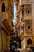 Travel photography:Street with old Havelis (merchant houses) in Jaisalmer, India