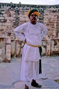 Travel photography:Guard in the Jodhpur Castle, India