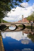 Travel photography:Bridge across the river Liffey in Dublin , Ireland