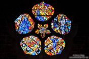 Travel photography:Galway cathedral coloured glass window, Ireland