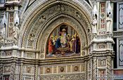 Travel photography:Detail over the Entrance Portal to the Duomo in Florence, Italy