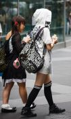 Travel photography:Two girls at Tokyo´s Antiques market, Japan