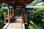 Travel photography:Wooden walkway at Kyoto`s Anraku-ji Temple, Japan