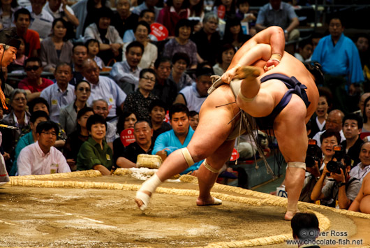 Throwing your opponent off balance at the Nagoya Sumo Tournament