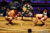 Travel photography:Makushita ranked wrestlers in a bout at the Nagoya Sumo Tournament, Japan