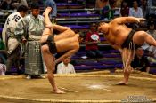 Travel photography:Juryo ranked wrestlers perform the leg-stomping (shiko) exercise to drive evil spirits from the ring (dohyoin) at the Nagoya Sumo Tournament, Japan