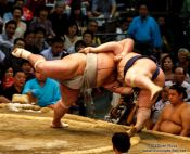 Travel photography:Throwing your opponent out of the ring at the Nagoya Sumo Tournament, Japan