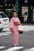 Travel photography:Girl in Kimono in Kyoto´s Gion district, Japan