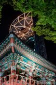 Travel photography:Bosingak pavilion with modern high rise in Seoul, South Korea