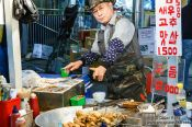 Travel photography:Food stall on the Seoul night market, South Korea