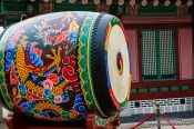 Travel photography:Giant drum in Seoul`s Gyeongbokgung palace, South Korea