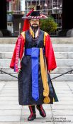 Travel photography:Guard at Seoul`s  Bosingak pavilion, South Korea
