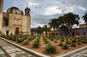 Travel photography:Oaxaca church square with Agave plants, Mexico