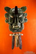 Travel photography:Mask of god murciélago at the Mexico City Anthropological Museum, Mexico