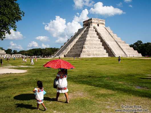 Visitors at the central pyramid of the Chichen Itza archeological site