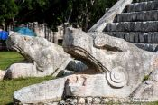 Travel photography:Snake heads at the Chichen Itza archeological site, Mexico