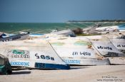 Travel photography:Boats at Celestun beach, Mexico